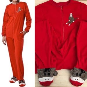 NICK & Nora Sock Monkey Footed Pajamas